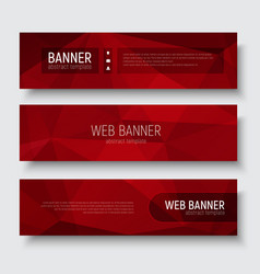 Set horizontal web banners with abstract red vector