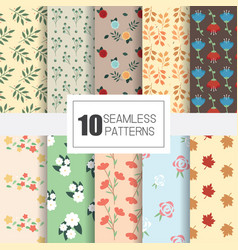 Set of 10 seamless patterns with flower textile vector