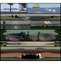 Set of 8 seamless panoramical landscapes vector