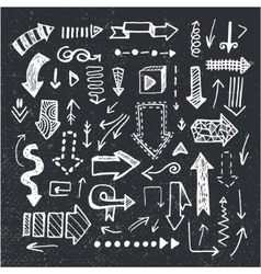 Set of hand drawn doodle arrows isolated vector
