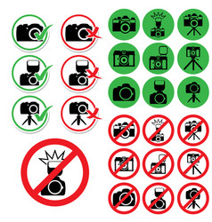 set photo permission and prohibition signs vector image