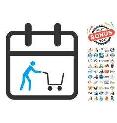Shopping Day Flat Icon with 2017 Year Bonus vector