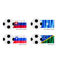 Soccer ball with slovakia somalia slovenia flag vector