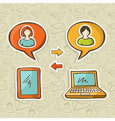 Social media gadgets connecting people vector