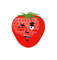 Strawberry winks cheerful fruit juicy red berry vector