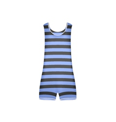 Striped retro swimsuit in blue and black design vector
