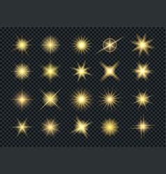 sunshine glowing gold stars effects vector image