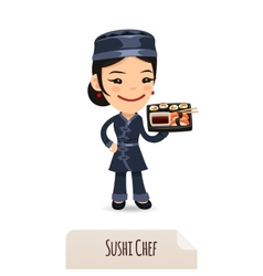 Sushi Chef With Tray vector image