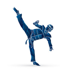 Taekwondo kick action with guard equipment vector
