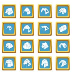 tent forms icons set sapphirine square vector image