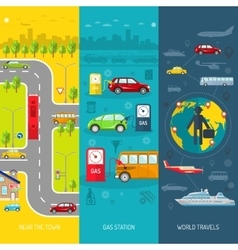 Transport flat vertical banner set vector image