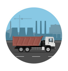 Truck on industrial background vector
