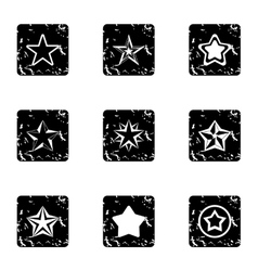 Types of stars icons set grunge style vector
