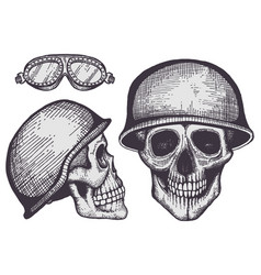Vintage style bikers human skulls isolated on vector