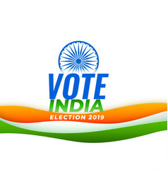 Vote india election background with indian flag vector