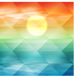 water wave in sunset time geometric background vector image