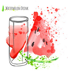 Watermelon drink with slice of watermelon fresh vector