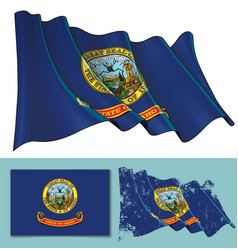 waving flag of the state of idaho vector image
