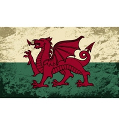 Welsh flag Grunge background vector