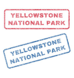 Yellowstone national park textile stamps vector