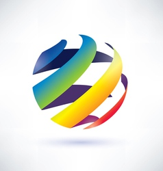 abstract rainbow globe icon vector image