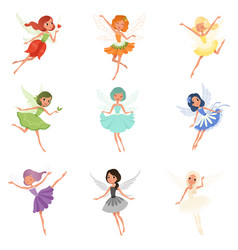 colorful set of fairies in flying action little vector image vector image