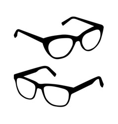 glasses silhouette set vector image vector image