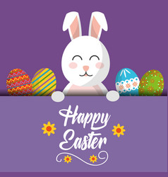 happy easter bunny greeting card with colored eggs vector image