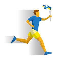 running torchbearer sportsman with torch vector image vector image