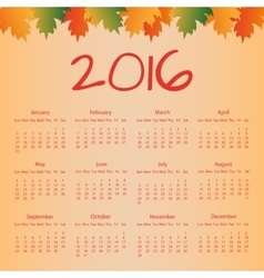 Calendar 2016 with colorful leaves vector image