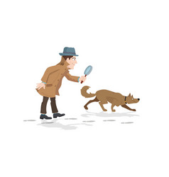 detective with magnifying glass and tracker dog vector image