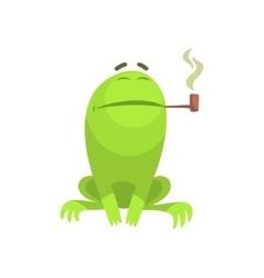Green Frog Funny Character Smoking A Long Pipe vector image vector image