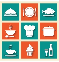 Restaurant cafe icons set vector image