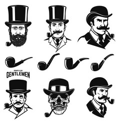 set of gentlemans head with smoking pipes design vector image vector image