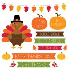 thanksgiving design elements set vector image vector image