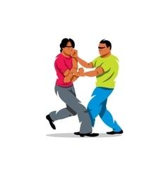Wing Chun kung fu sparring Cartoon vector image vector image