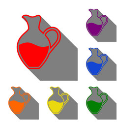 amphora sign set of red orange yellow green vector image vector image