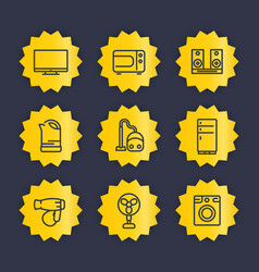 Appliances line icons set vector