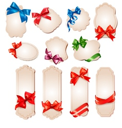 retro cards with red gift bows vector image