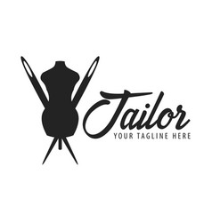 tailor sewing handmade logo or emblem vector image