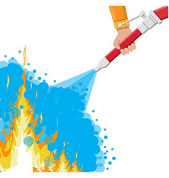 water hose in hand to extinguish the fire vector image vector image