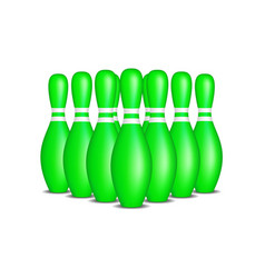 bowling pins in green design with white stripes vector image vector image