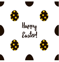 happy easter black and gold seamless pattern vector image vector image