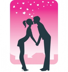 kissing on a date vector image vector image