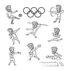 Olympic athlete set hand drawn vector image