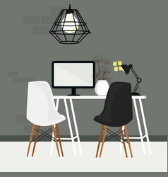 Pair of chair in empty working space with computer vector