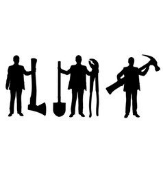 people silhouettes holding big tools vector image vector image