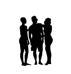 silhouette man standing with two women full length vector image