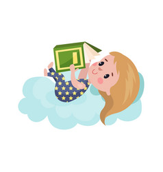sweet little girl lying on a cloud and reading vector image vector image