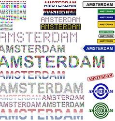 Amsterdam text design set vector image